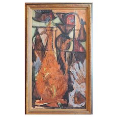 Vintage modern cubist abstract still life oil painting by Thalia Cleopa Greece