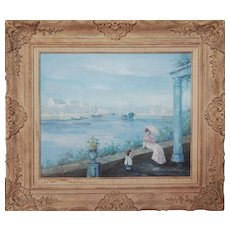 Woman with child by river vintage impressionist oil painting by Henri Dupre
