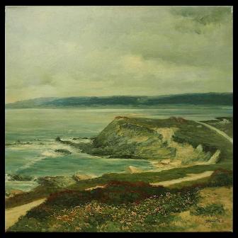 Gorgeous ocean beach seascape vintage oil painting by Bruce Peil