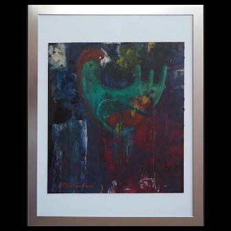 Bird Dove original abstract modern painting by Barbara Swarovski