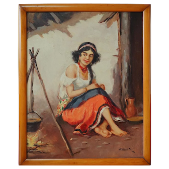 Beautiful barefoot gypsy woman cooking vintage signed oil painting