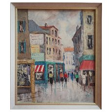 Paris France impressionist street scene vintage signed oil painting