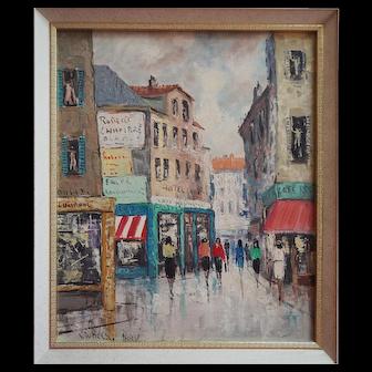Paris France impressionist street scene vintage signed oil painting