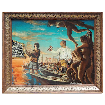 Ship builders with tools skull nude women surreal vintage painting by Mark Whitcombe