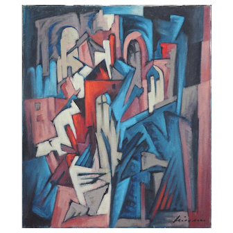 Vintage abstract cityscape modernist cubist geometry oil painting by Wiesner