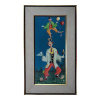 Balancing clowns surreal vintage original oil painting by Alfano Dardari Italy