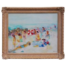 Beach scene original vintage oil painting by Frits Fred Klein