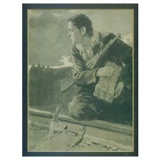 Never Forget WWII woman partisan by railroad track vintage painting Sergei Romanov Belarus Russia