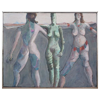 Exercise class nude women surreal original vintage painting by Hugo Storelli