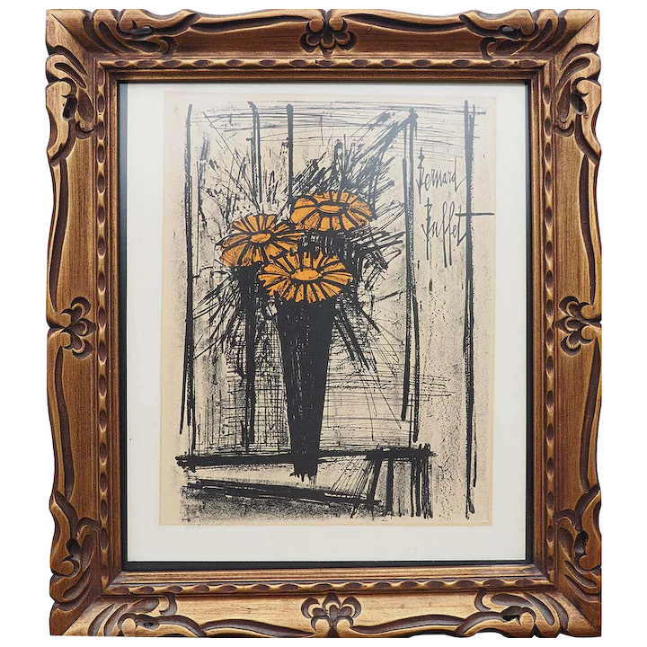 Pleasing Bernard Buffet Flower Still Life Authentic Vintage Lithograph Print France Download Free Architecture Designs Lectubocepmadebymaigaardcom