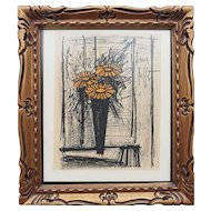 Bernard Buffet Flower still life authentic vintage lithograph print France