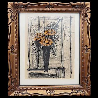 Bernard Buffet Flower still life authentic vintage lithograph print France