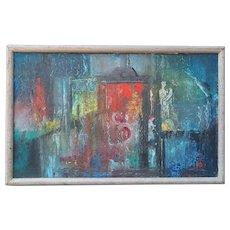 Original vintage abstract modern oil painting by Eleanore Lockspeiser