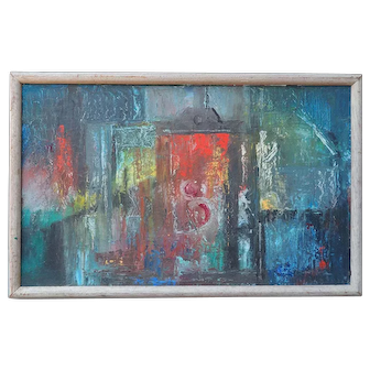 Original vintage abstract modern oil painting by Eleanore Lockspeiser
