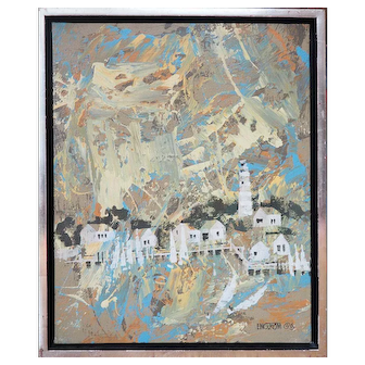 Harbor town lighthouse abstract modern oil painting by Magnus Engstrom