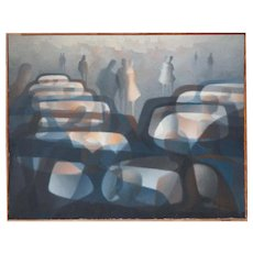 Cars in rain surreal modern large vintage oil painting Raymond Georgein France