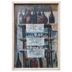 Vintage cubist oil painting Bottles in Paris Bistro still life by David Ratner