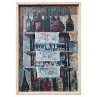 Vintage cubist oil painting Bottles in Paris Bistro still life by David Ratner