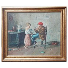 Original antique genre oil painting boy girl w cat and mouse by Gennaro Russo Italy