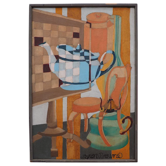Vintage modern abstract cubist Teapot still life oil painting by Byron Browne