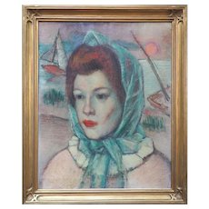 Artist's wife portrait vintage oil painting by Simka Simkhovitch Russian American artist