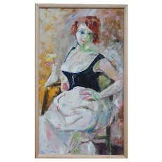 Semi nude woman vintage impressionist oil painting by Enid Edson New York