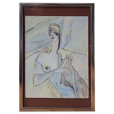 Nude woman with rose flower exquisite vintage oil painting