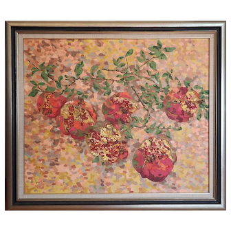 Original vintage pomegranates pointillism still life oil painting by Masa Japan