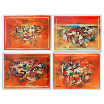 Summer four abstract modern vintage signed paintings