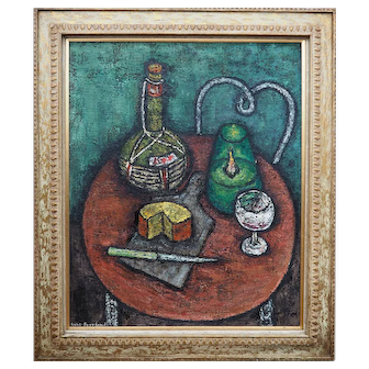 Modern vintage still life with cheese original oil painting by Anne Freeland