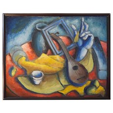 Original abstract modern still life painting by Russian American Boris Mandrovsky