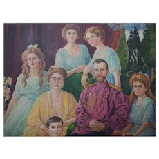 Czar Nicholas II with family children Imperial Russia royalty vintage oil painting