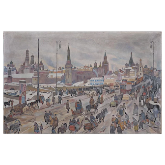 Crowds by Kremlin Moscow Russia vintage oil painting