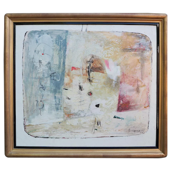 Original vintage signed abstract modern painting Italy