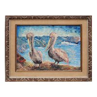 Pelicans original vintage oil painting by Frank Romero California