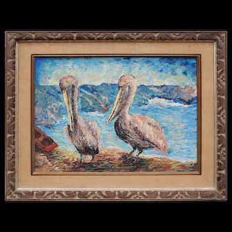 Pelicans original vintage oil painting by Frank Romero California