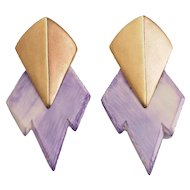Vintage Stephen Dweck Moderne sterling silver purple plastic clip on earrings
