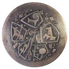 Rare vintage modernist cubist 875 silver constellation powder box Russia