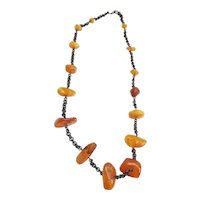 Genuine vintage Butterscotch amber and copper necklace Latvia