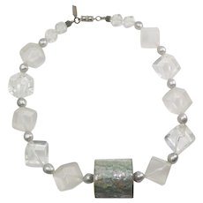 Early vintage chunky clear lucite mother of pearl modern necklace Pauline Rader