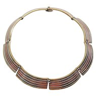 Amazing vintage multi metal sterling silver modern choker necklace Mexico