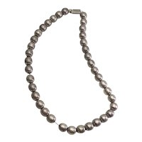 Vintage sterling silver olive shape beads on chain necklace by Jondell