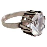 Sweden designer Bengt Hallberg sterling silver crystal modern open ring