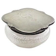 1930s Art Deco design International Sterling cut glass candy powder jar