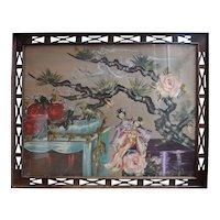 Original 1930s Asian motif flower Art Deco watercolor painting by Zara Ellwood