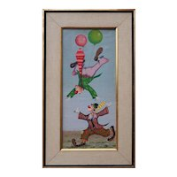 Playful clowns with balloons surreal vintage circus signed oil painting Italy