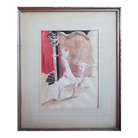 Unique original 1940s nude women dancers watercolor ink signed painting