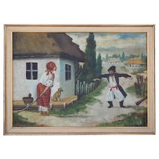 Drunk man angry wife antique folk oil painting by G. Tsymbalyuk Ukraine Russia