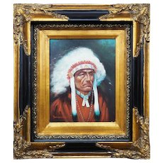 Native American chief portrait beautiful original oil painting by Troy Denton