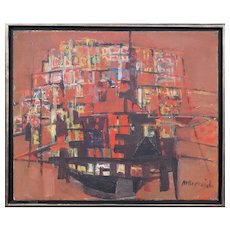 Original vintage abstract cityscape modern oil painting by Zvi Mairovich